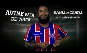 Após quase três anos, Ávine volta a ser relacionado para jogo do Bahia