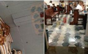 Igreja de Nossa Senhora de Brotas sofre com infiltrações por conta das chuvas