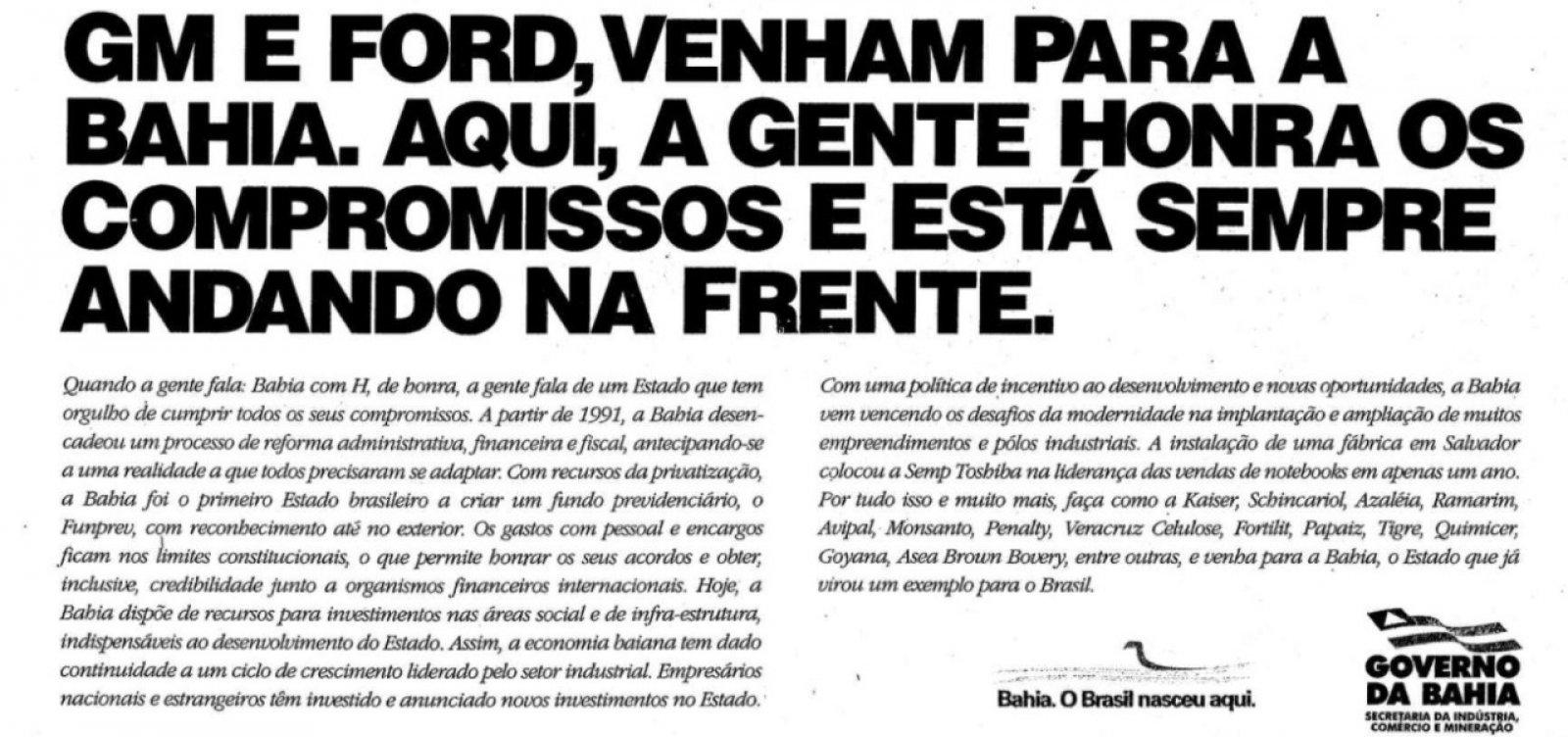 César Borges relembra rixa com Rio Grande do Sul e São Paulo para trazer Ford para a Bahia
