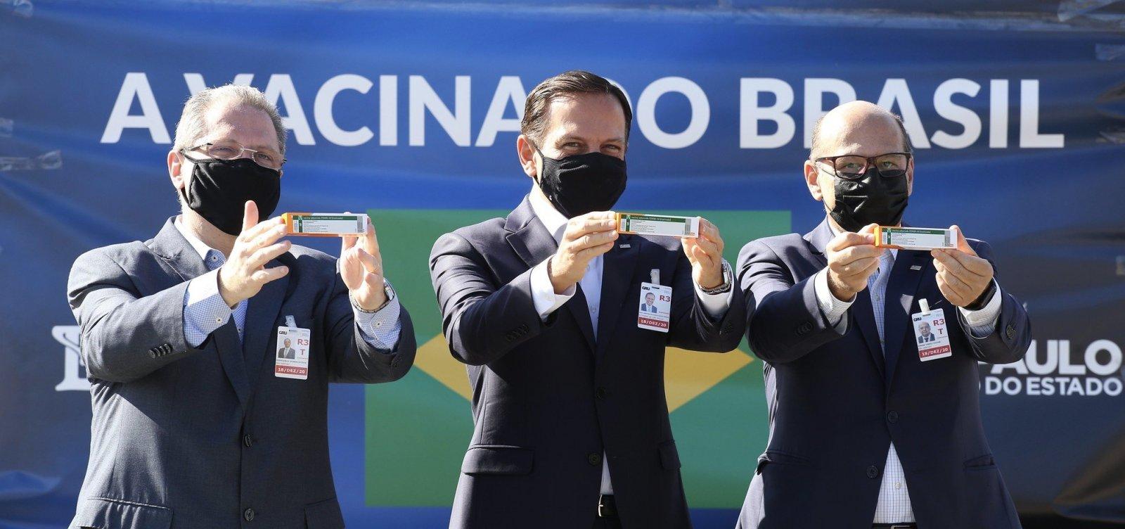 São Paulo quer iniciar vacinação contra a Covid-19 já na segunda-feira