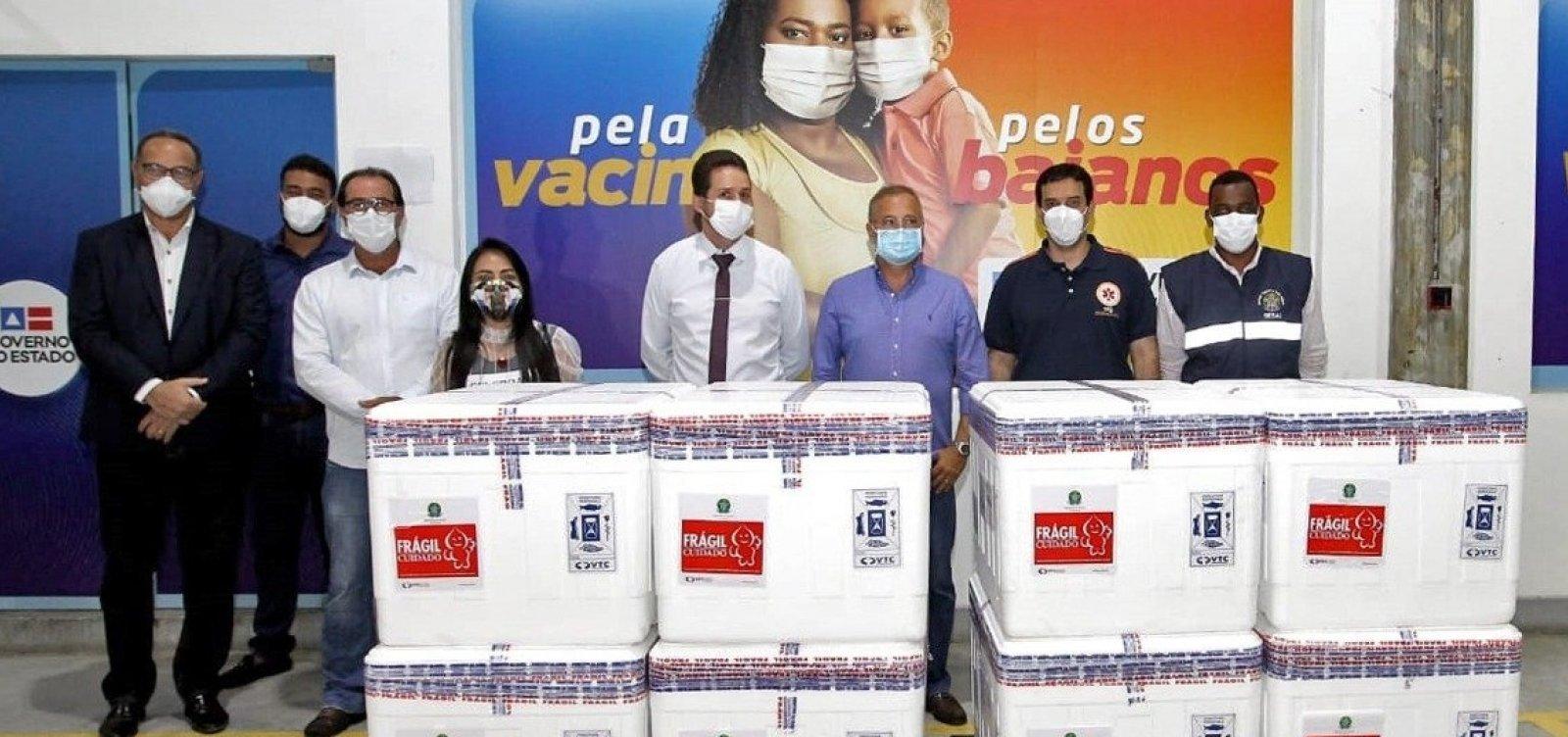 Chegam à Bahia mais 56 mil doses da Coronavac