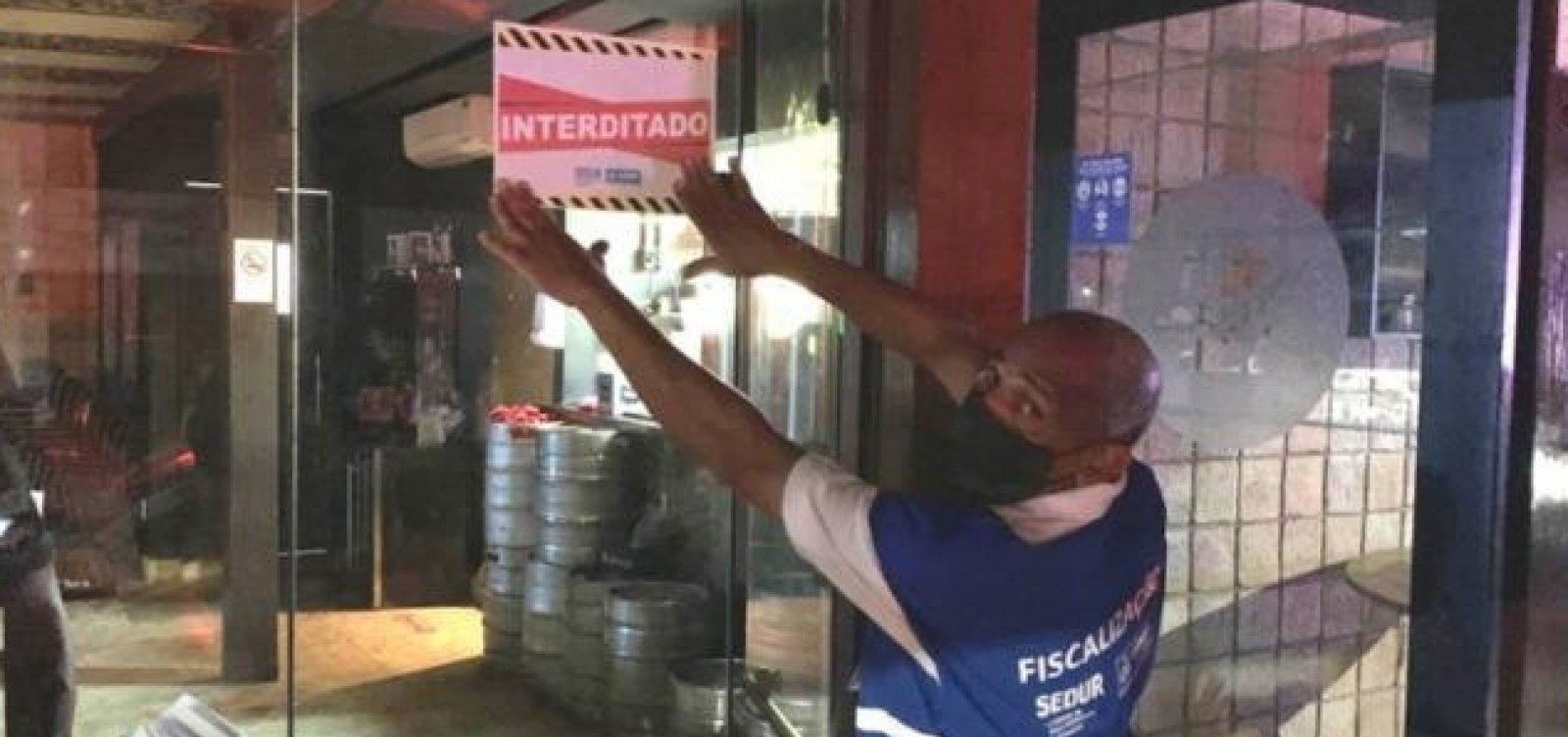 Covid-19: Sedur interdita 12 estabelecimentos no final de semana