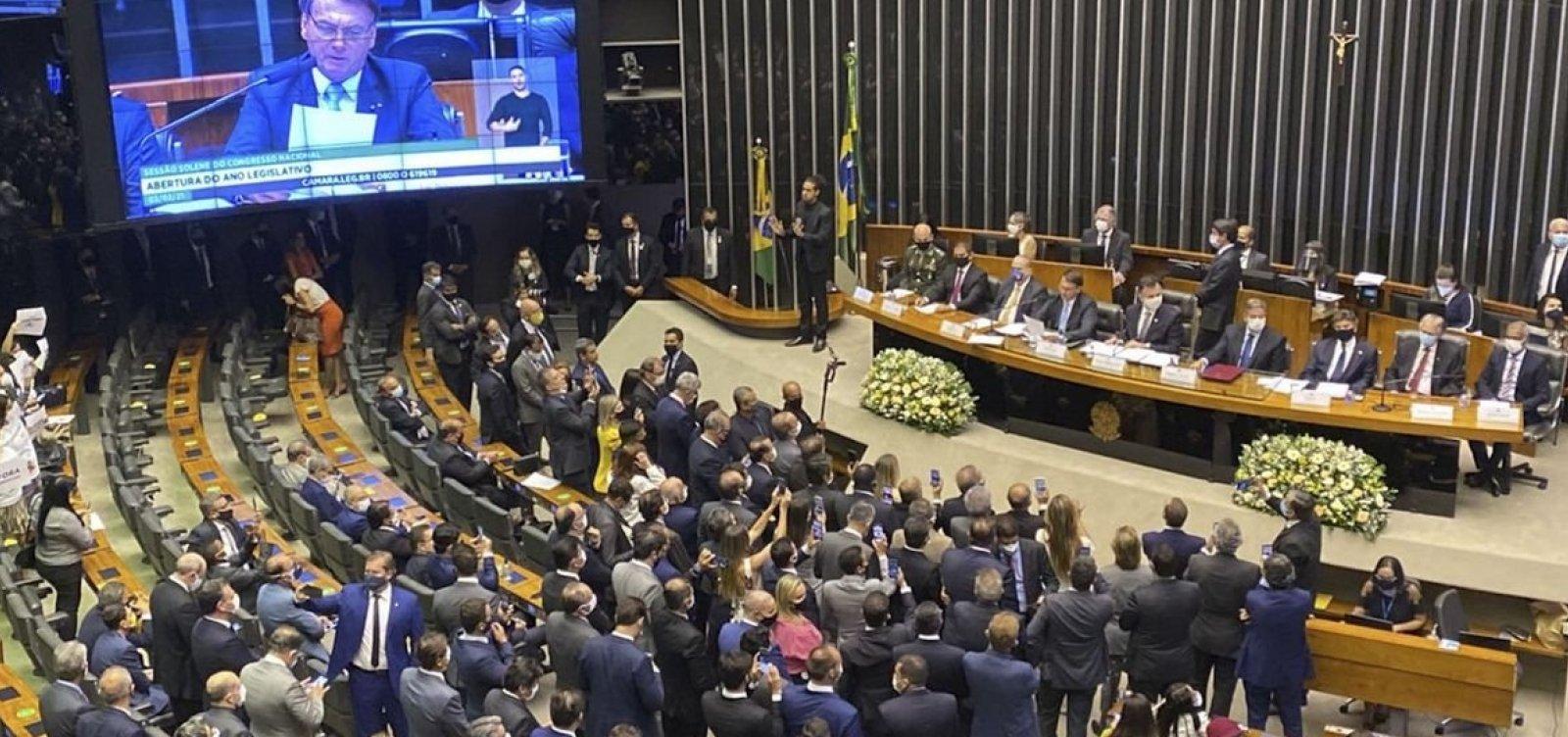 Ao lado de Fux, Pacheco e Lira, Bolsonaro lê mensagem ao Congresso