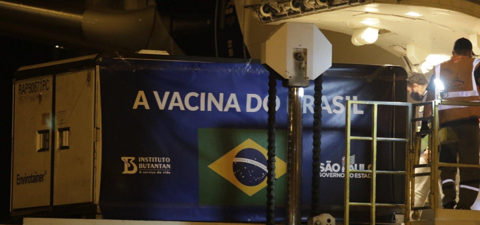 Insumos para produção de 8,7 milhões de doses da Coronavac chegam em SP
