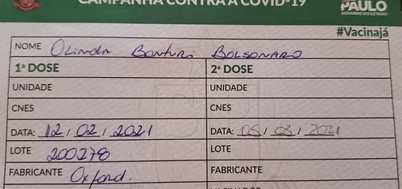 Cartão de vacinação da mãe de Bolsonaro tem nome de Oxford, mas indicações da Coronavac