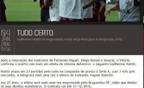 Site oficial do Vitória antecipa renovação de contrato do volante Amaral