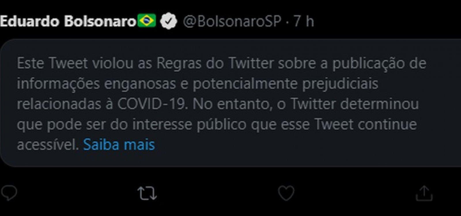 Twitter coloca aviso de publicação enganosa em post de Eduardo Bolsonaro sobre 'lockdown'