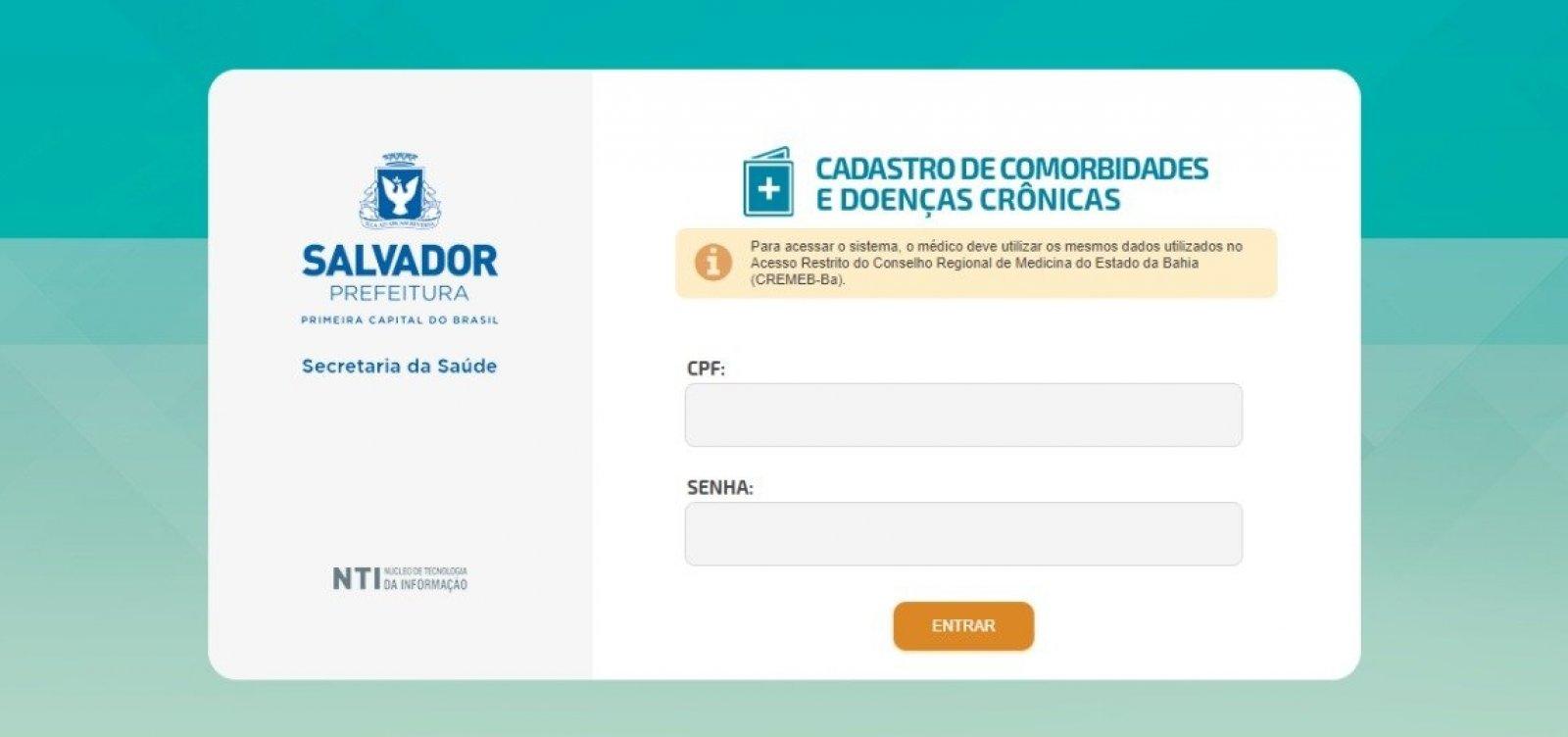 Prefeitura lança site para cadastro de pessoas com comorbidades em vacinação de Salvador