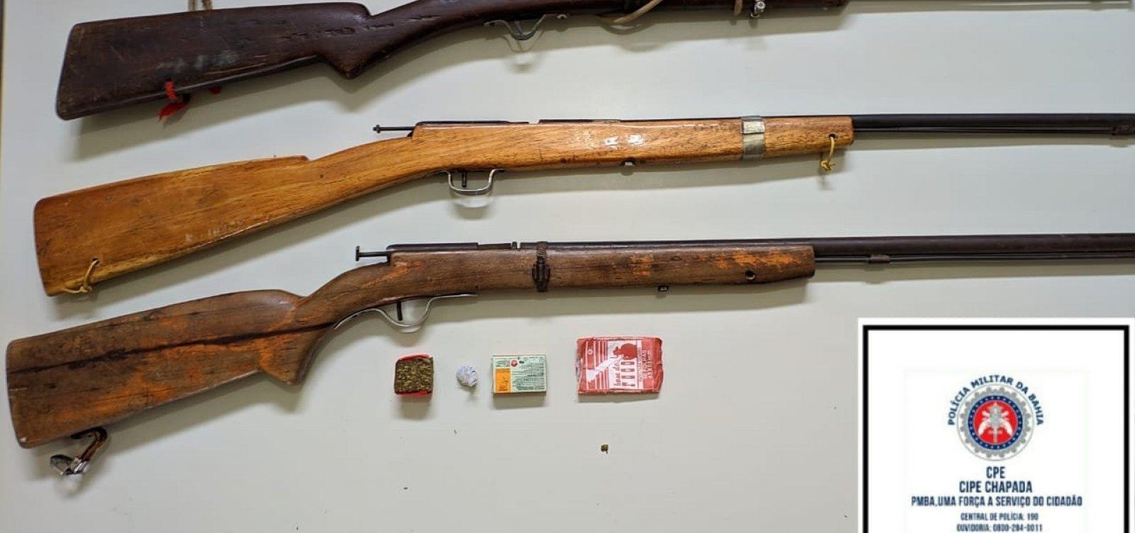 Dois homens morrem e polícia apreende oito armas na Chapada Diamantina