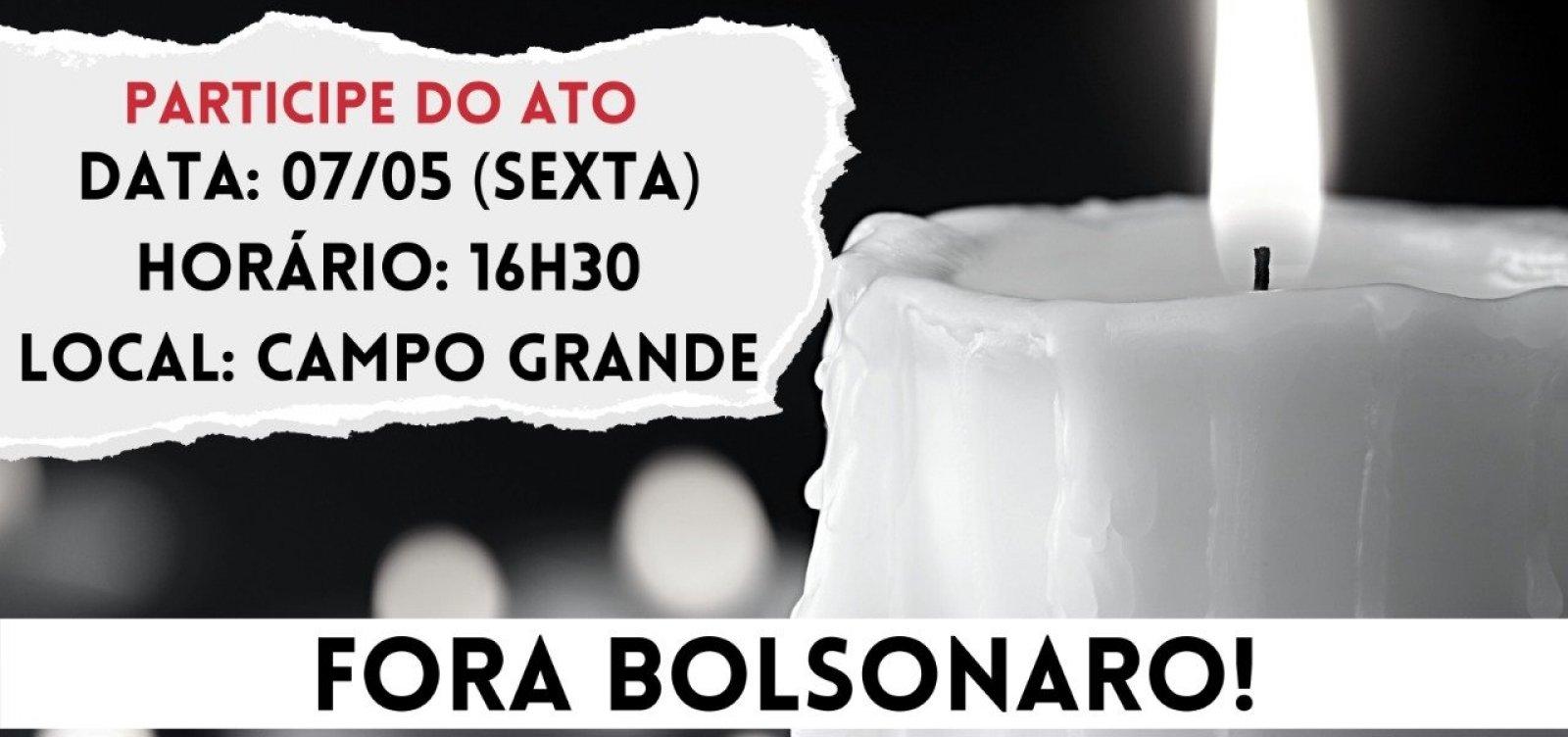 Com 'protocolo antiaglomeração', movimento faz protesto contra Bolsonaro no Campo Grande