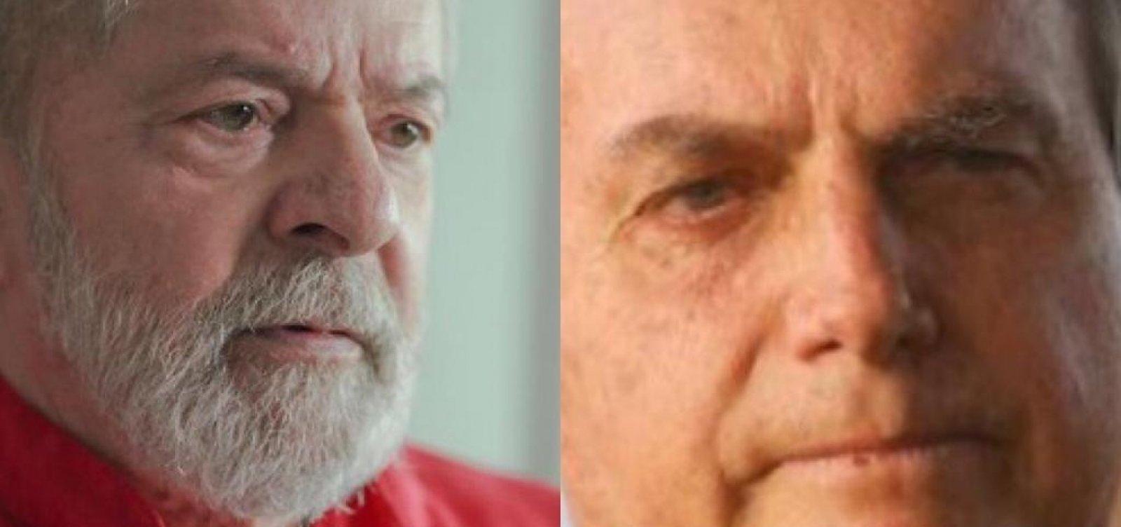 Corrida eleitoral: Pesquisa aponta vitória de Lula nos dois turnos contra Bolsonaro em 2022