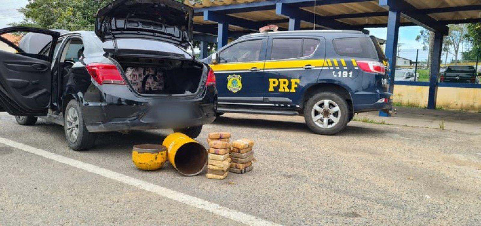 Homem esconde droga em cilindro de gás e é preso em operação da Polícia Rodoviária Federal