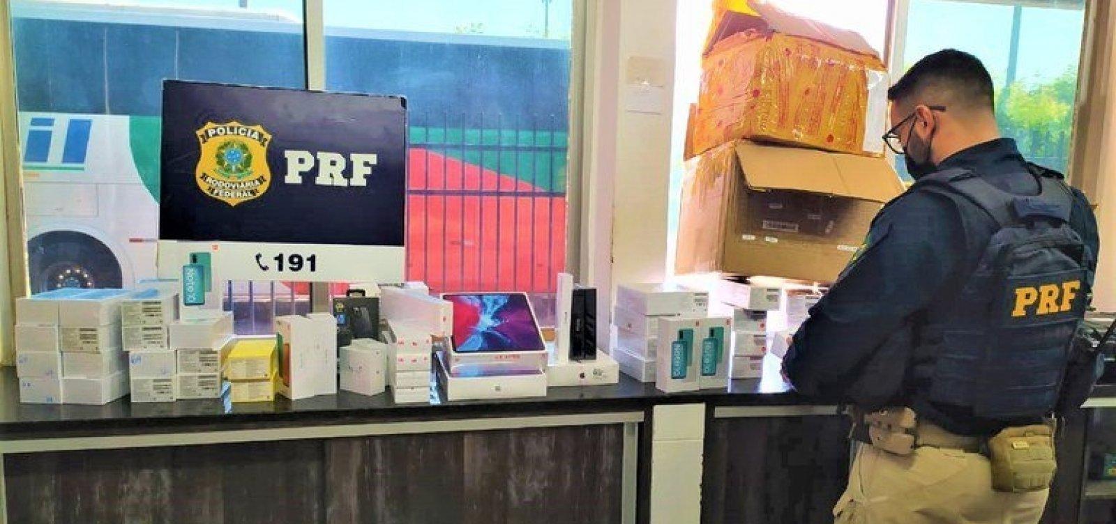 PRF apreende carga de eletrônicos sem nota fiscal avaliada em R$ 150 mil
