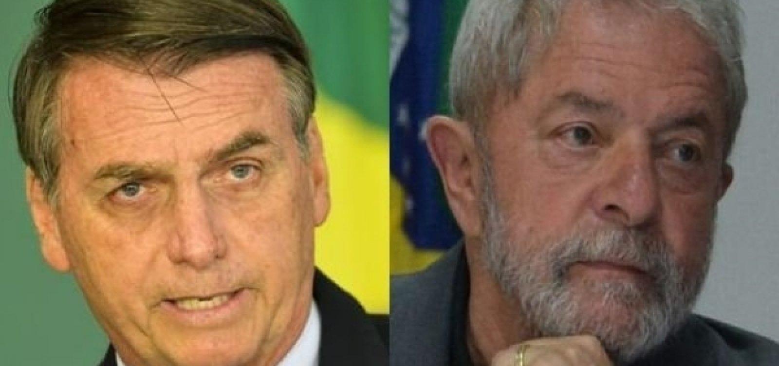 Pesquisa mostra Bolsonaro e Lula tecnicamente empatados na disputa pela Presidência