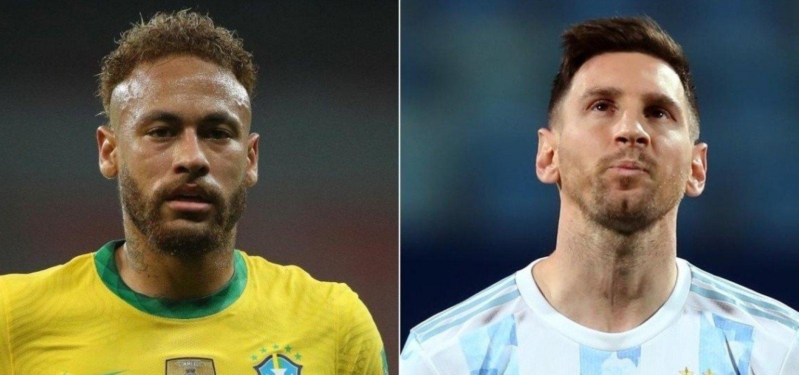 Final de Copa América impõe duelo entre astros e chance de Neymar igualar confronto com Messi