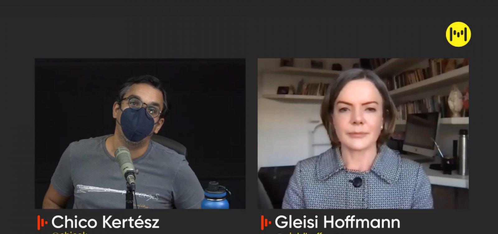 """Gleisi Hoffmann diz que PT apoia impeachment de Bolsonaro, mas ainda não confirma Lula em 2022: """"Estamos articulando"""""""