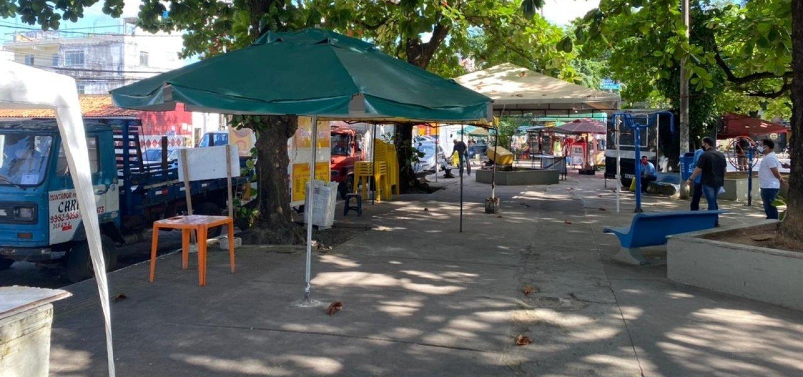 Fechada há mais de um mês, praça em Pernambués teve reforma iniciada nesta semana