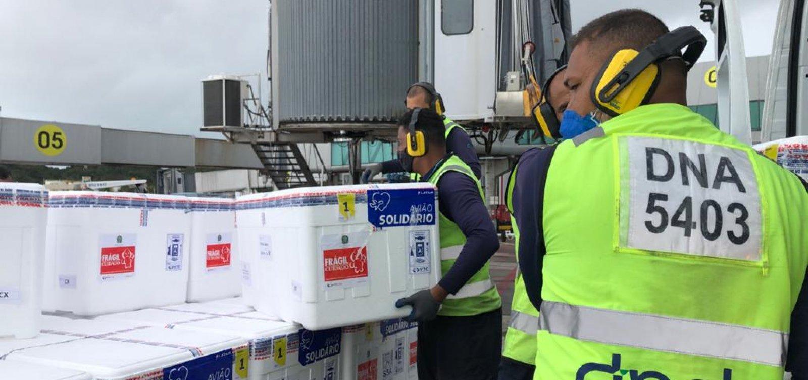 Com chegada de doses da Pfizer, Bahia  recebe três cargas previstas para esta semana