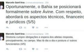 Pelo Twitter, presidente Marcelo Sant'Ana responde acusações de Ávine