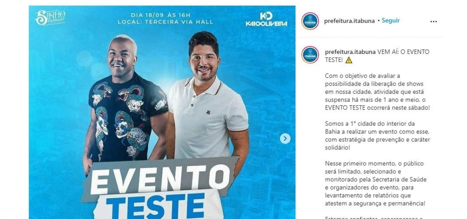 Mesmo com fiasco em Salvador, prefeitura de Itabuna anuncia realização de evento-teste