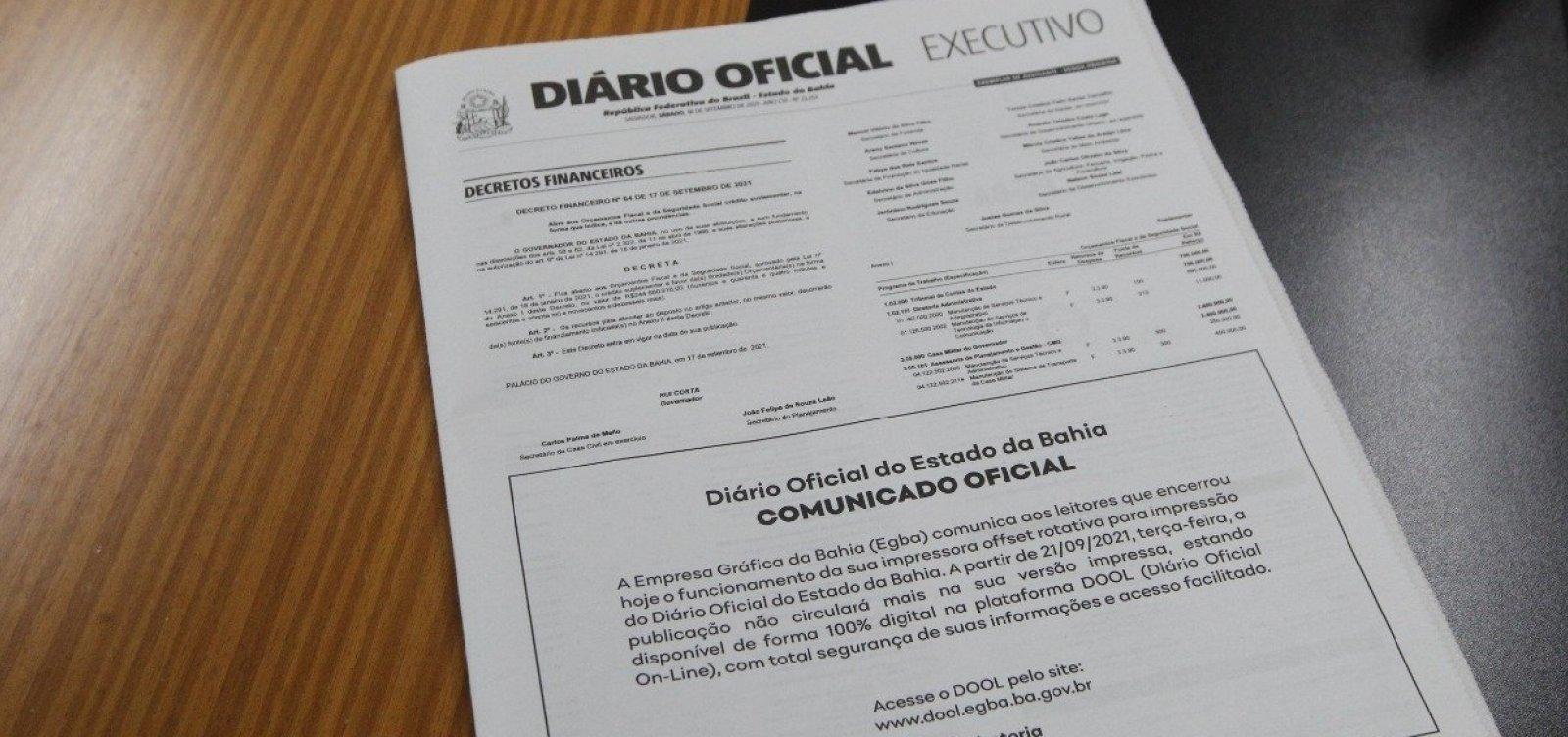 Diário Oficial do Estado deixa de circular versão impressa