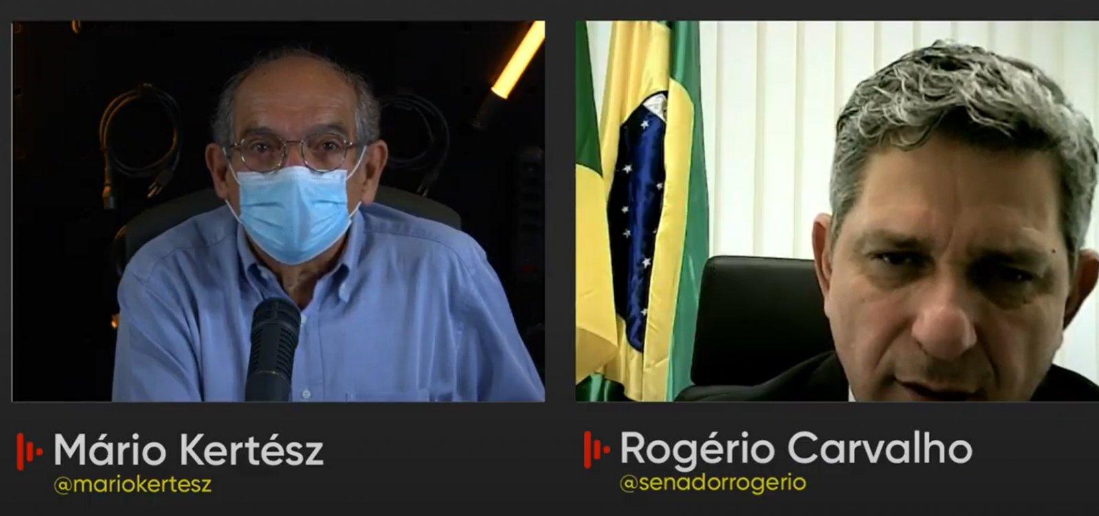 """""""O crime está caracterizado"""", diz senador Rogério Carvalho sobre atuação de Bolsonaro na pandemia"""
