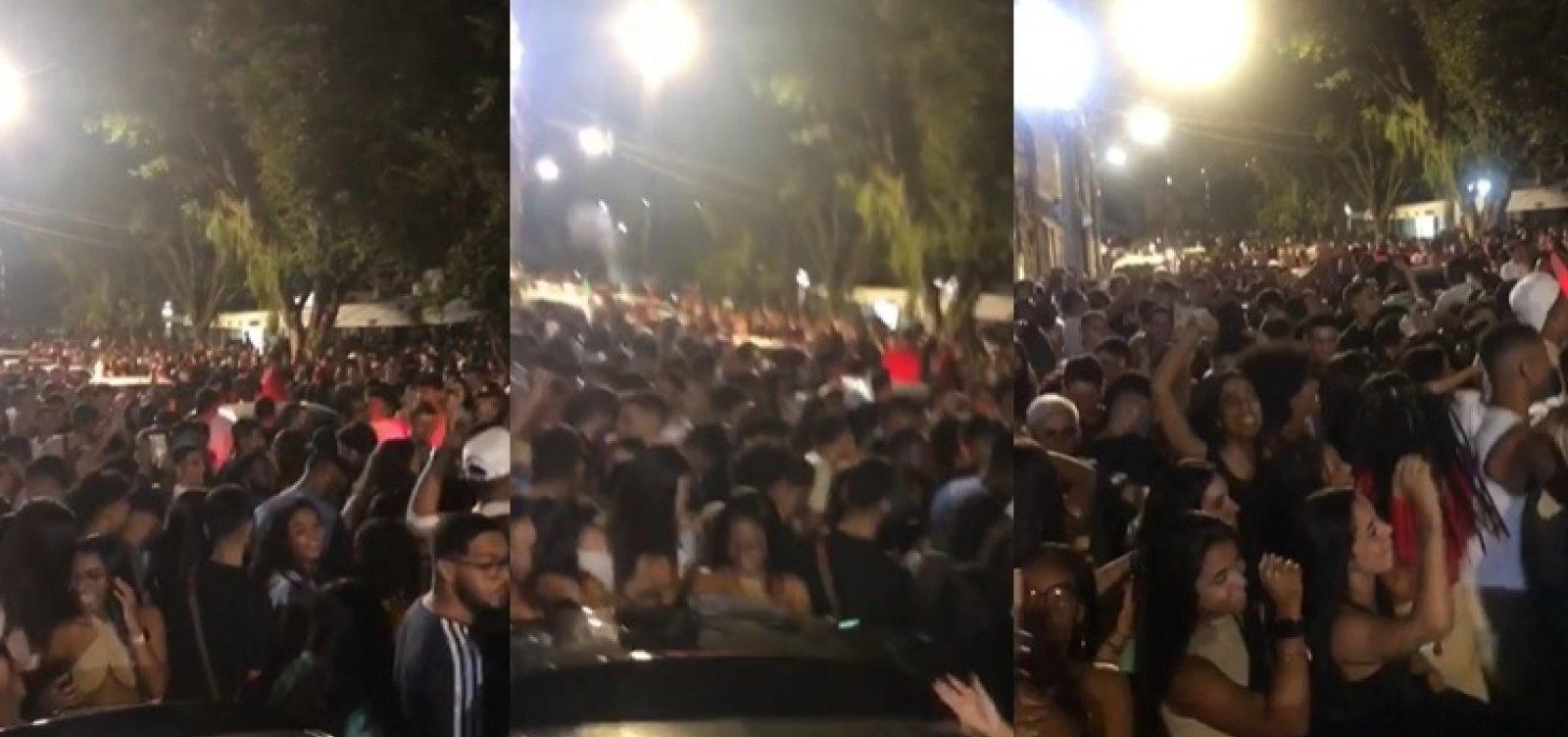 Vídeo mostra multidão aglomerada em festa paredão em bairro de luxo de Salvador