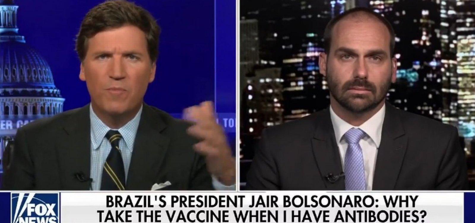 """Eduardo Bolsonaro chama prefeito de NY de """"marxista"""" em entrevista nos EUA"""