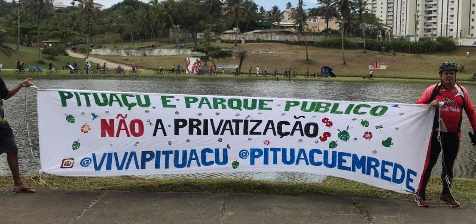 Manifestantes criticam privatização do Parque Metropolitano de Pituaçu