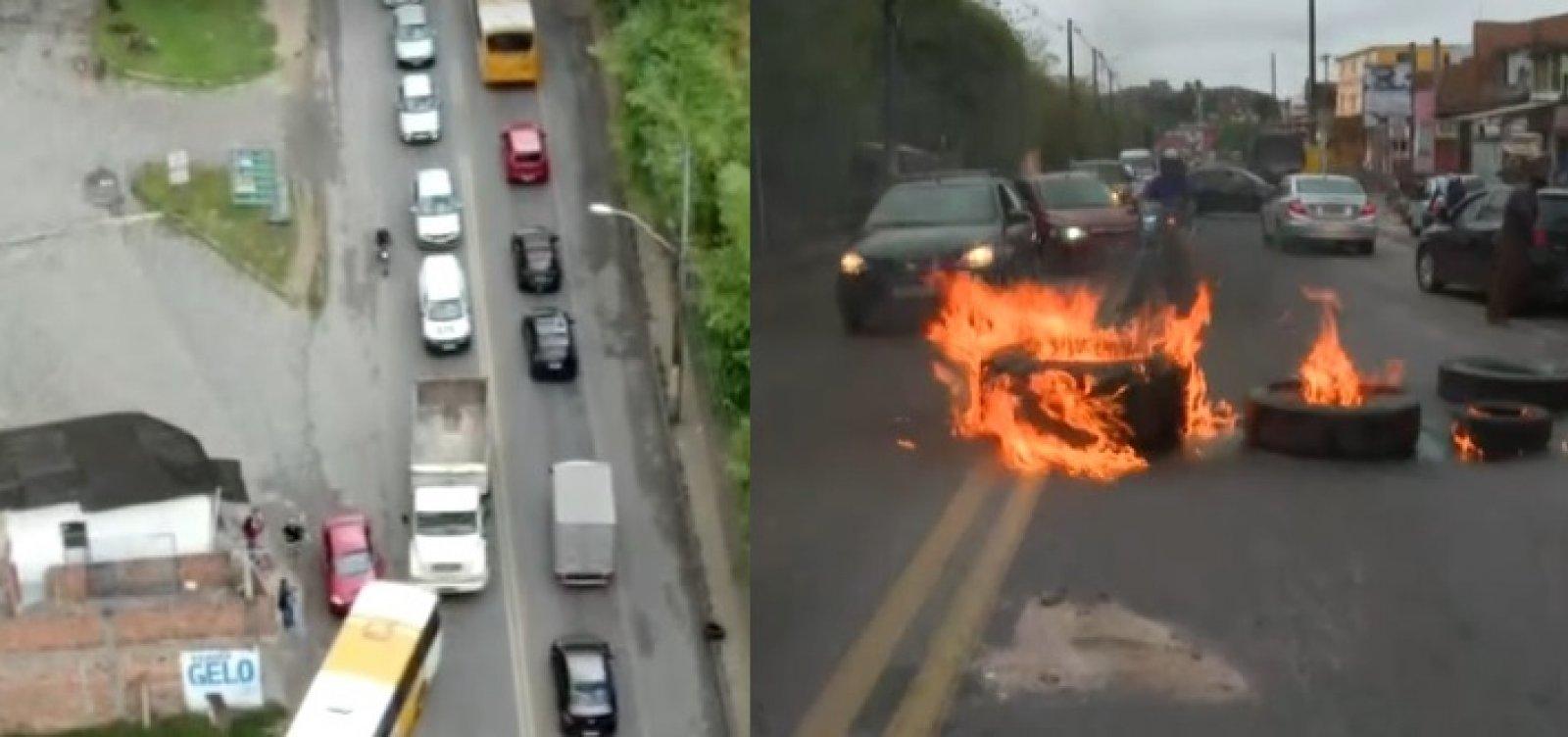 Contra alta da gasolina, motoristas fecham os dois sentidos da Estrada do Derba
