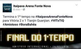 """Fonte Nova comete gafe nas redes sociais e posta """"Bora Bahêa"""" em jogo do Vitória"""