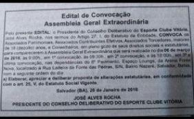 Após decisão da justiça, nova Assembleia Geral é convocada no Vitória