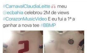 Claudia Leitte ganha presente do Bahia por marca recorde de música