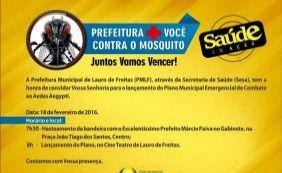 Prefeitura lança plano municipal de combate ao Aedes em Lauro de Freitas