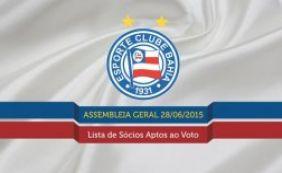 Bahia divulga lista de sócios aptos ao voto na Assembleia Geral