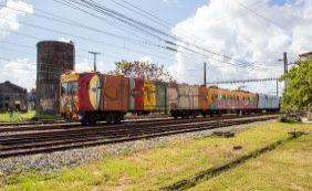 Trens do Subúrbio são coloridos com obras dos paulistanos Os Gêmeos; veja