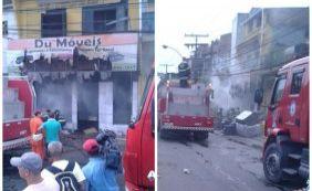 Incêndio atinge loja de estofado na Avenida Heitor Dias
