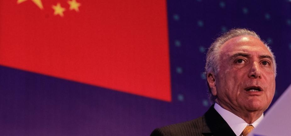 """Em discurso na China, Temer diz que economia do Brasil está \""""no trilho do desenvolvimento\"""""""