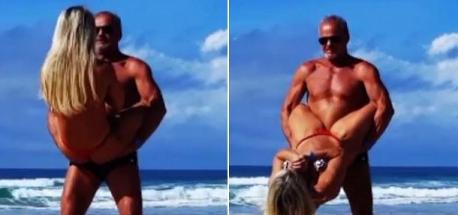 """Kadu Moliterno treina com esposa na praia e exibe boa forma: \""""Bora trincar!\""""; vídeo"""