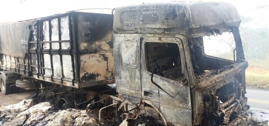 Caminhão pega fogo na BR-101 neste sábado
