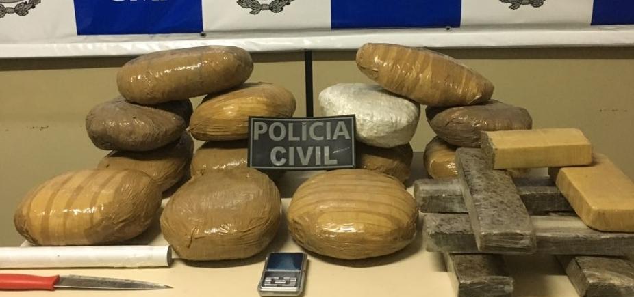 Polícia prende foragido com mais de 16 kg de maconha e cocaína em Ilhéus