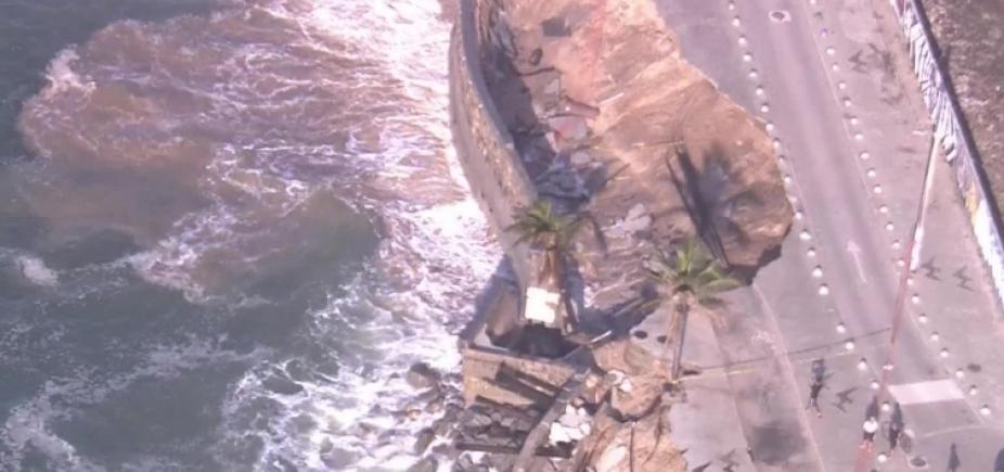 Desaba mais um trecho de calçadão e ciclovia no Rio de Janeiro