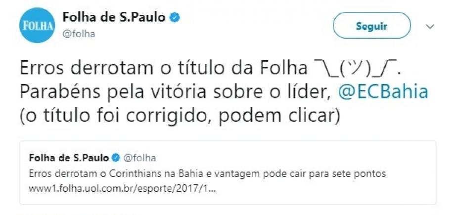 """Jornal pede desculpas após tratar vitória do Bahia sobre o Corinthians como """"erro"""""""