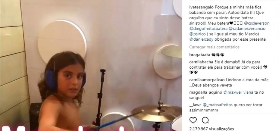 Ivete posta vídeo do filho detonando na bateria: ʹA mãe fica babando sem pararʹ