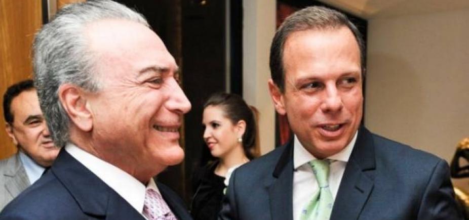 Temer se reúne com Doria em São Paulo para discutir alianças eleitorais