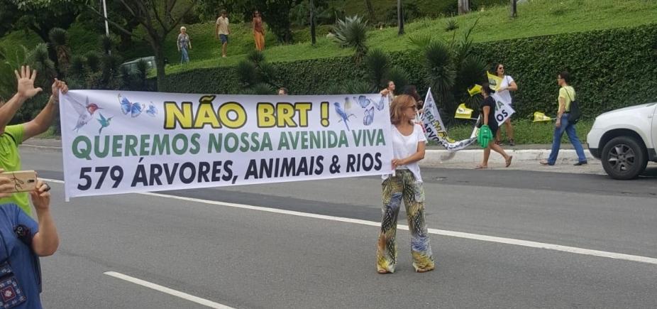 Manifestantes protestam contra retirada de árvores para BRT em Salvador