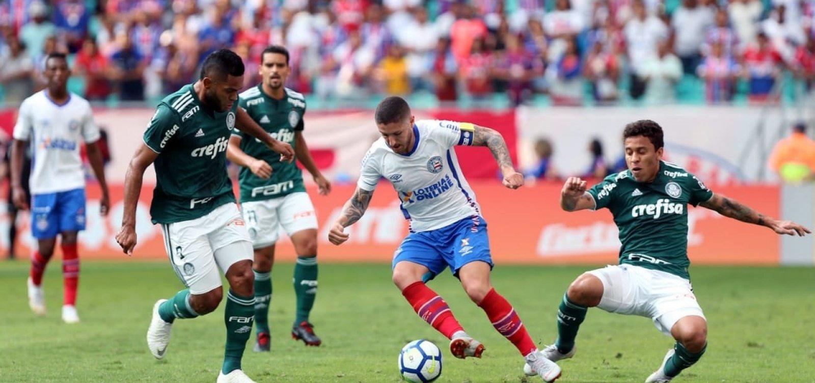 Bahia empata em 1 a 1 com o Palmeiras e sai vaiado da Fonte Nova
