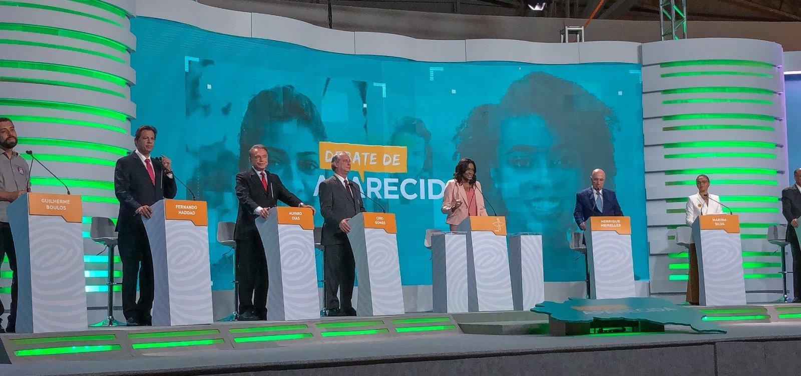 Em seu primeiro debate, Haddad protagoniza confrontos com Alckmin e Meirelles