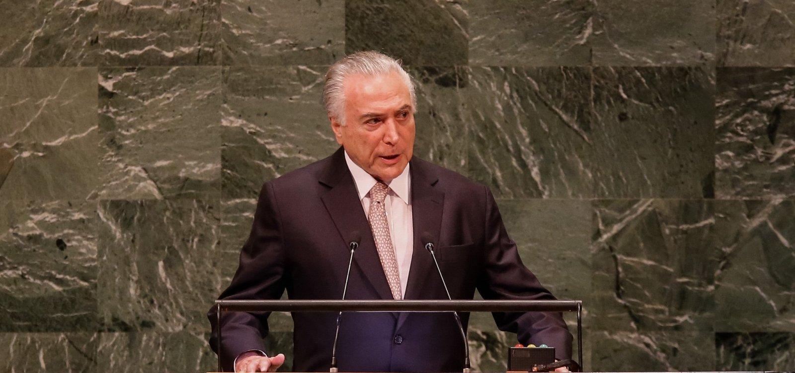 Temer diz na ONU que deixa Presidência com 'tranquilidade': 'Dever cumprido'