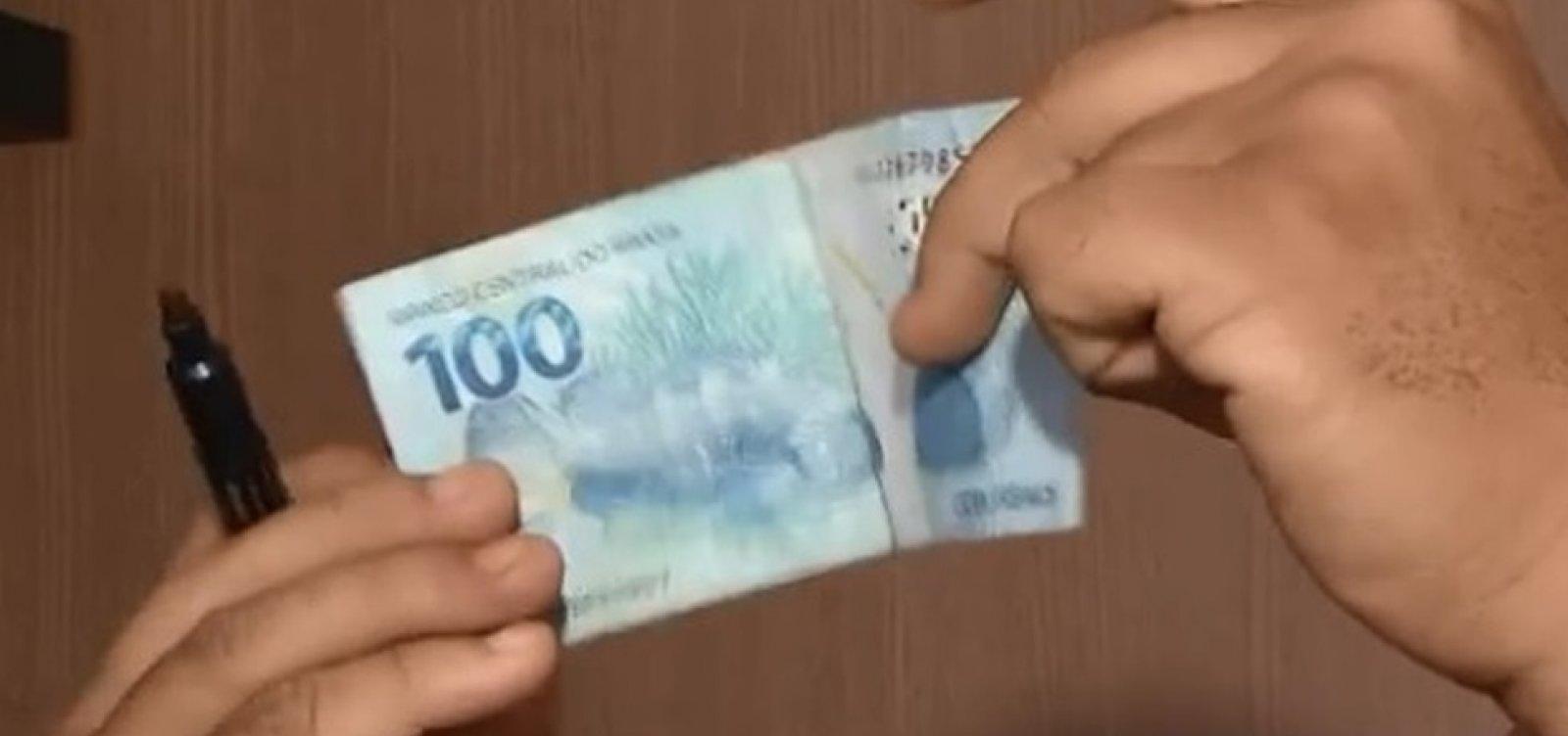 Criminosos usam dinheiro falso para fazer compras pela internet, na Bahia